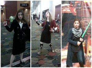 My cosplays for Salt Lake Comic Con FanX 2015: Agent Carter, Scarlet Witch, and my Jedi persona