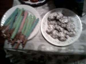 Lightsaber Pretzels and Asteroid cookies