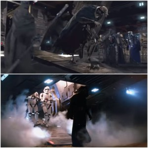 Now arriving: people with a bad attitude. Granted the smoke echoes Palpatine's shuttle landings but it was the camera angle that got me. Images via Lucasfilm, collage by me