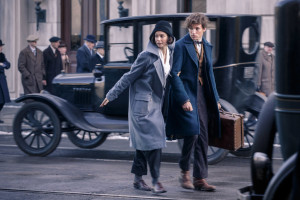 Kathrine Waterston and Eddy Redmayne as Tina and Newt. Warner Bros. via PopSugar